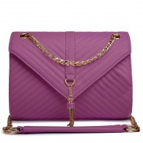 E1635 - Miss Lulu Leather Look Quilted Chain Shoulder Bag Purple