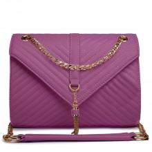 E1635 - Sac d'épaule Miss Lulu en cuir matelassé avec chaîne en violet