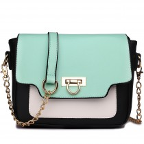 E1638 - Miss Lulu Leather Style Horseshoe Clasp Satchel Green
