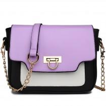 E1638 - Miss Lulu Leather Style Horseshoe Clasp Satchel Purple
