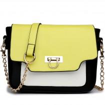 E1638 - Miss Lulu Leather Style Horseshoe Clasp Satchel Yellow