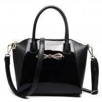 E1639 - Miss Lulu Patent Leather Look Bow Front Shoulder Handbag Plain Black