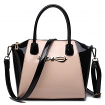E1639 - Miss Lulu Patent Leather Look Bow Front Shoulder Handbag Plain Black And Nude
