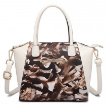 E1639F - MISS LULU FLORAL MATT PRINT BOW DETAIL PU LEATHER TOTE BAG COFFEE