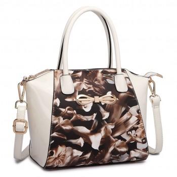 E1639F - Miss Lulu Matte Leather Look Floral Print Bow Detail Handbag Coffee