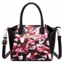 E1639F - MISS LULU FLORAL MATT PRINT BOW DETAIL PU LEATHER TOTE BAG PURPLE