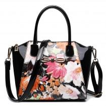 E1639F - Miss Lulu Patent Leather Look Bow Front Shoulder Handbag Floral Black