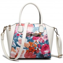 E1639F - Miss Lulu Patent Leather Look Bow Front Shoulder Handbag Floral Blue And White