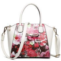 E1639F - Miss Lulu Patent Leather Look Bow Front Shoulder Handbag Floral Pink And White