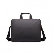 E1652 - Miss Lulu Simple Square Solid Colour Laptop Bag Small Black
