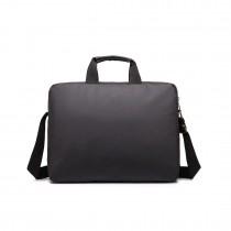 E1652-MISSLULU SIMPLE SQUARE SOLID COLOR HANDBAG LAPTOP BAG BLACK