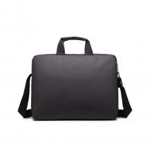 E1652 - sacoche simple pour ordinateur portable en toile imperméabilisé en noir