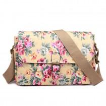 E1656 - Miss Lulu Matte Oilcloth Medium Floral Satchel Beige