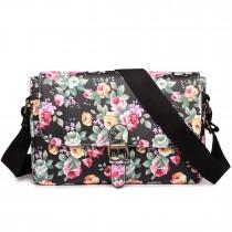 E1656 - Miss Lulu Matte Oilcloth Medium Floral Satchel Black