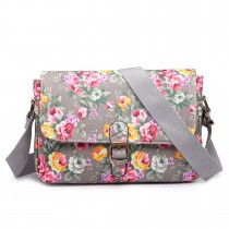 E1656-Miss Lulu matte oilcloth dorable floral satchel grey