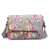 E1656 - Miss Lulu Matte Oilcloth Medium Floral Satchel Grey