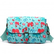 E1656NEW-Miss Lulu matte oilcloth dorable floral satchel elephant print light blue