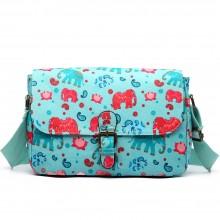 E1656NEW-Miss Lulu toile cirée mat Doré floral satchel éléphant imprimer bleu clair