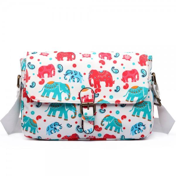 E1656 - Miss Lulu Matte Oilcloth Medium Elephant Print Satchel Beige