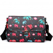 E1656NEW-Miss Lulu matte oilcloth dorable floral satchel elephant print black