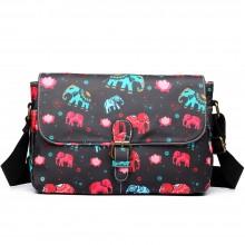 E1656NEW-Miss Lulu nacre mat dorable floral satchel éléphant noir
