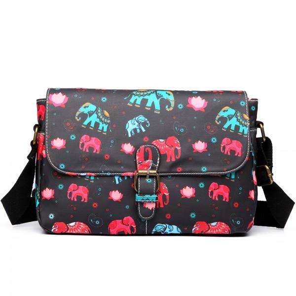 E1656 - Miss Lulu Matte Oilcloth Medium Elephant Print Satchel Black