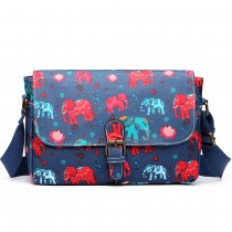E1656 - Miss Lulu Matte Oilcloth Medium Elephant Print Satchel Navy