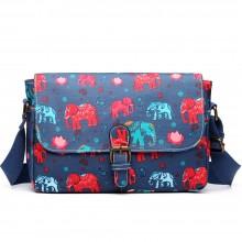 E1656NEW-Miss Lulu toile cirée mat dorable floral satchel éléphant imprimer marine