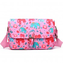 E1656NEW-Miss Lulu mate oilcloth dorable estampilla floral elefante rosa