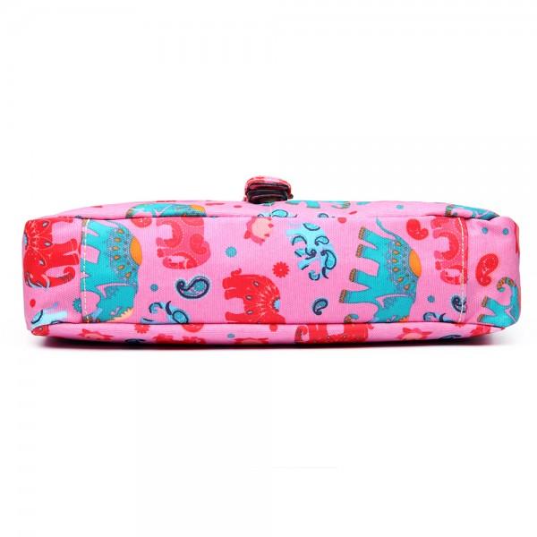 E1656 - Miss Lulu Matte Oilcloth Medium Elephant Print Satchel Pink