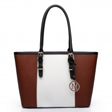 E1661-Miss Lulu Center Stripe Medium Tote Adjustable Handle Bags brown