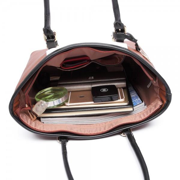 E1661-Miss Lulu Center Stripe Medium Tote Adjustable Handle Bags brown