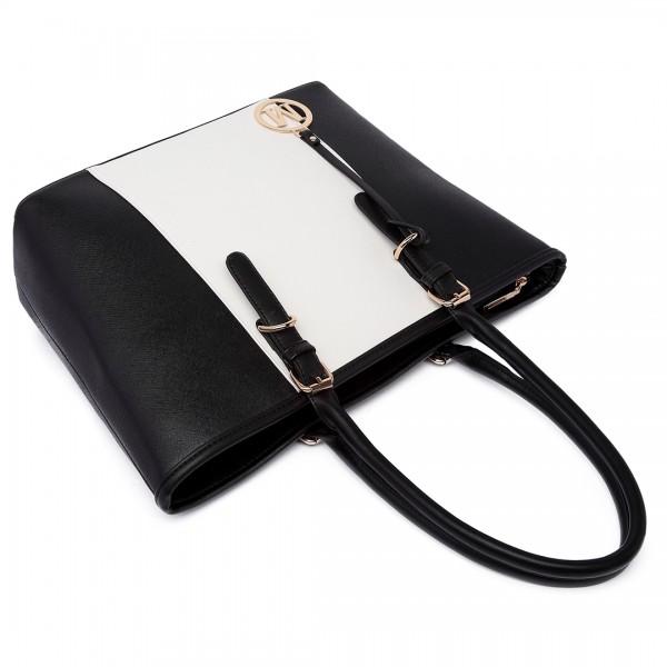 E1661-Miss Lulu Center Stripe Medium Tote Adjustable Handle Bags Black