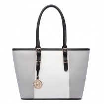 E1661-Miss LuLu Center Stripe Medium Tote Adjustable Handle Bags Grey
