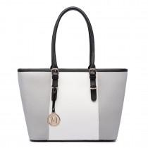 E1661-Miss Lulu Center Stripe Medium Tote Adjustable Handle Bags Grey