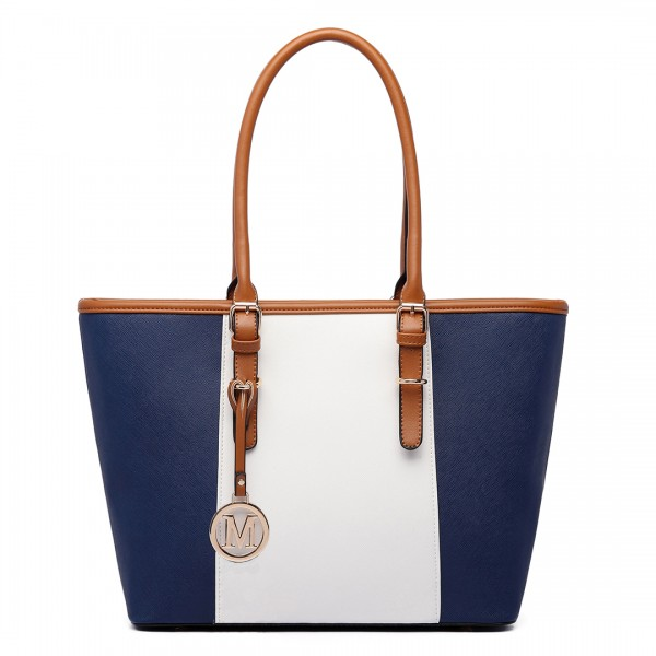 E1661-Miss Lulu Center Stripe Medium Tote Adjustable Handle Bags Navy