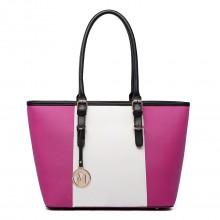 E1661-Miss Lulu Center Stripe Medium Tote Adjustable Handle Bags Plum