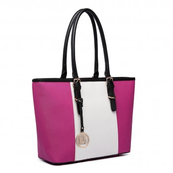 E1661-Miss LuLu Center Stripe Medium Tote Adjustable Handle Bags Plum