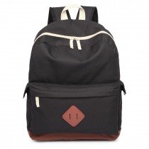 E1664 - Large Unisex Polyester School Backpack Black