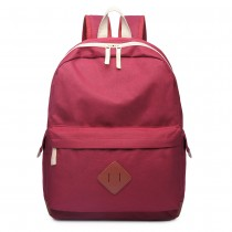 E1664 - Large Unisex Polyester School Backpack Burgundy