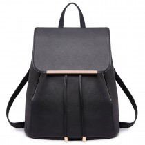 E1669- Miss Lulu Ladies Fashion PU Leather Backpack BLACK