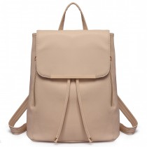 E1669 - panna Lulu Faux Skórzana Stylowa Fashion Backpack - Beige