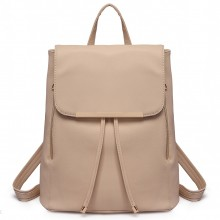 E1669 - Miss Lulu Faux Leather Stylish Fashion Backpack - Beige