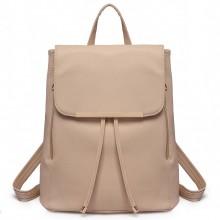 E1669 - Miss Lulu Faux Leather Stylish Fashion Backpack Beige