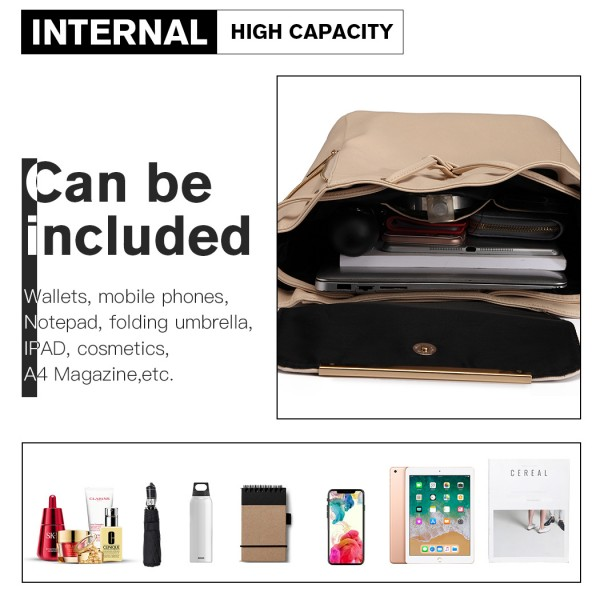 E1669 - Miss Lulu Faux Leather Stylish Fashion Backpack - Beige