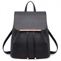E1669 - Mochila ampliable elegante Miss Lulu en piel texturizada en negro
