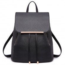 E1669 - Miss Lulu Faux Leather Stylish Fashion Backpack - Black