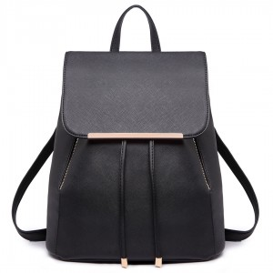 E1669 - Miss Lulu Faux Leather Stylish Fashion Backpack Black