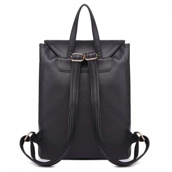 E16669 --Miss Lulu Faux Leather Stylish Fashion Backpack Black