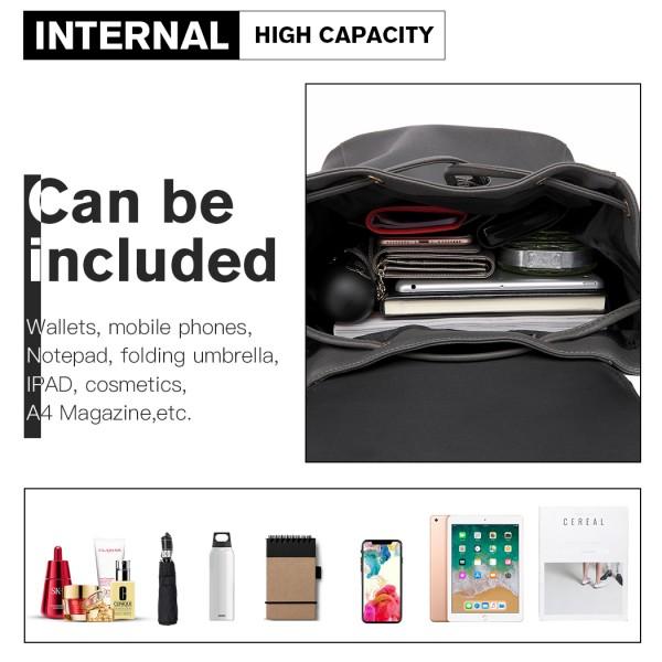 E1669 - Miss Lulu Faux Leather Stylish Fashion Backpack - Grey